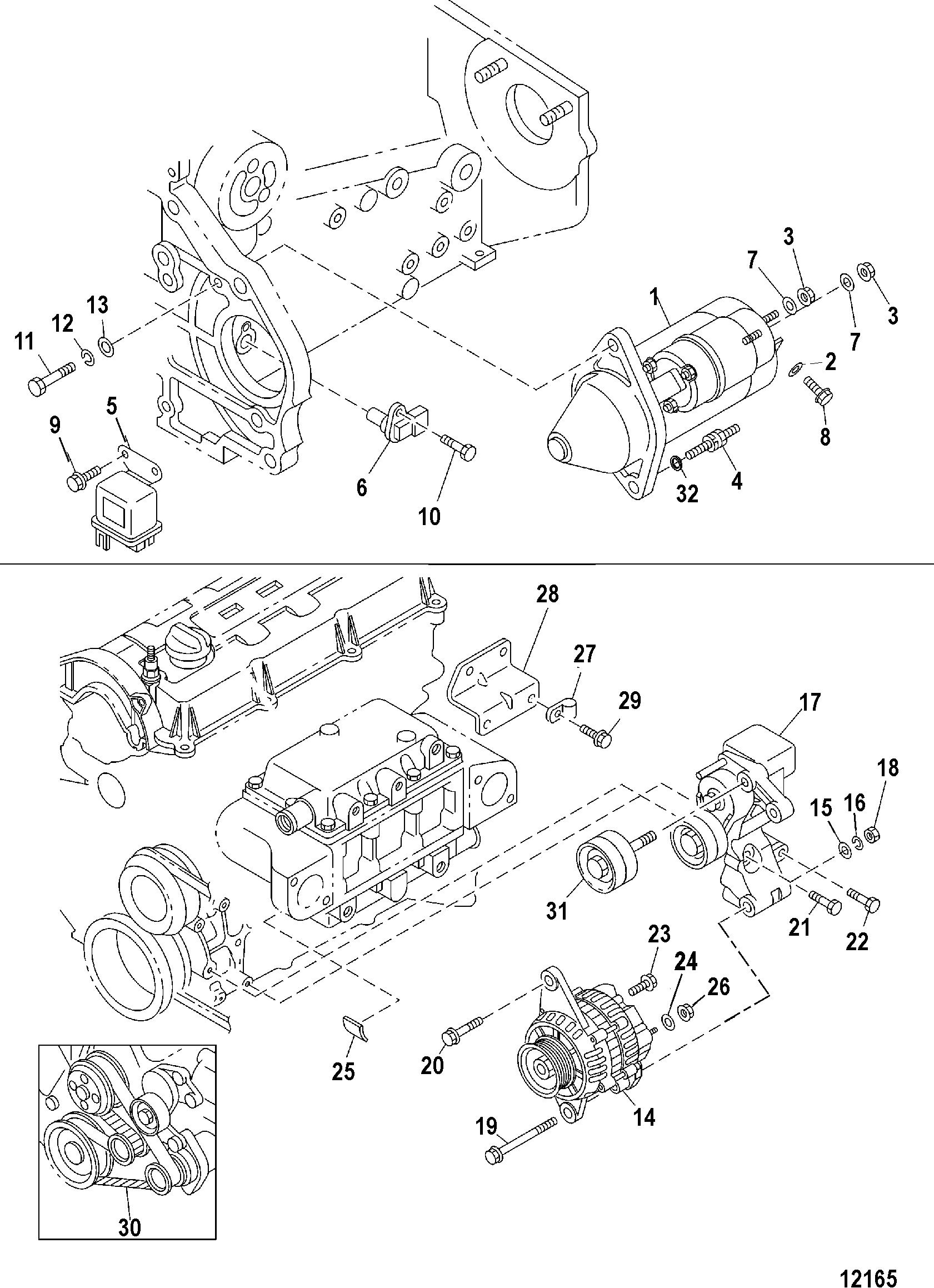 mercruiser cmd 1 7 mi 120 i l4 88109041 5.7 Mercruiser Engine Wiring Diagram starter and alternator