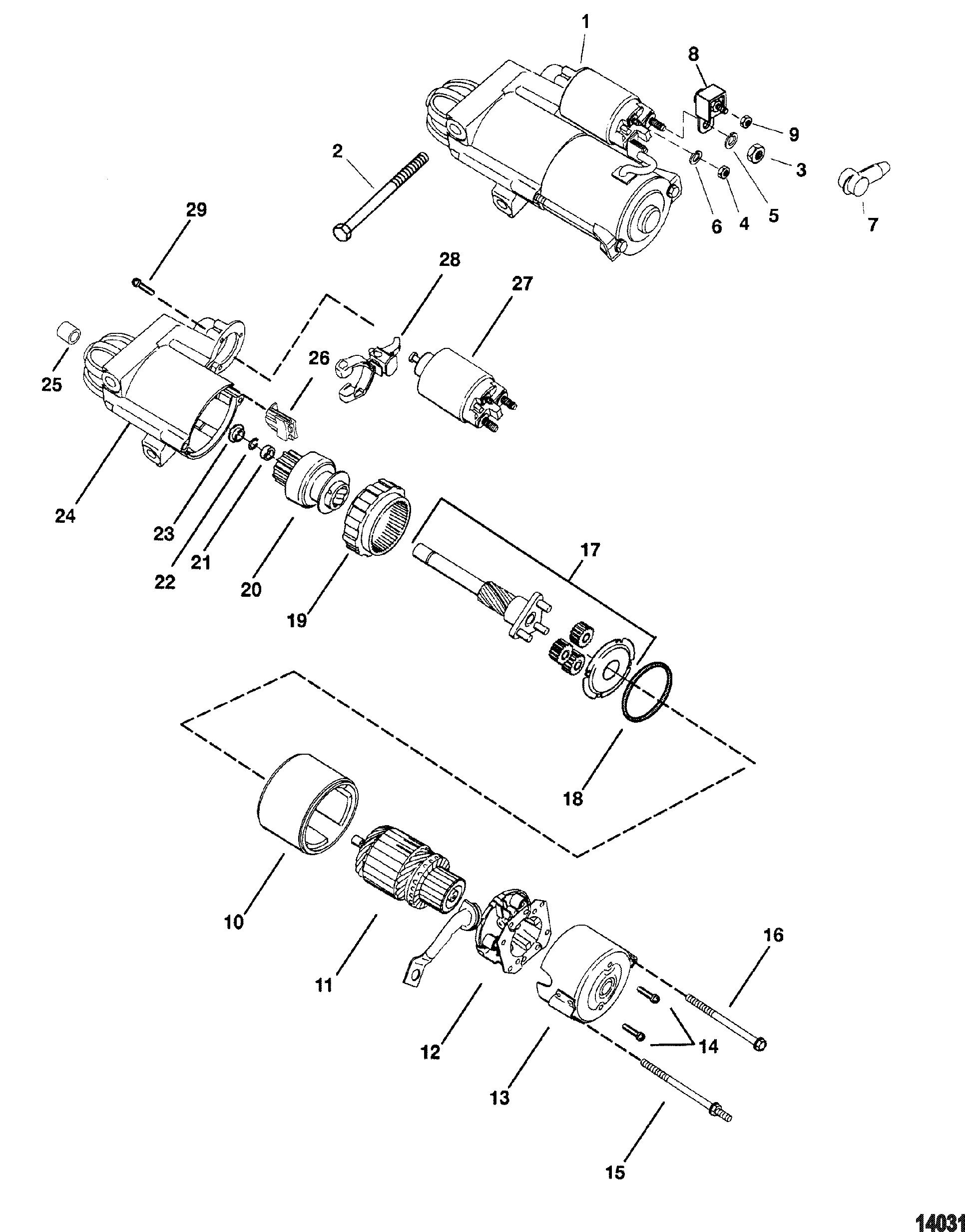 mercruiser 4 3l efi gen tbi gm 262 v  starter motor delco pg260f1