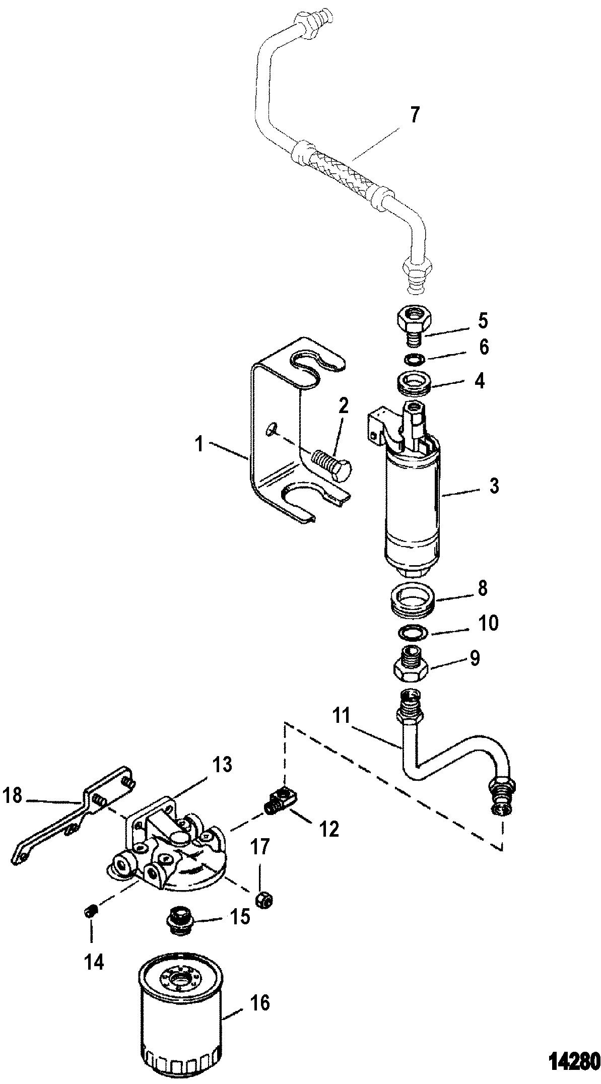Mercruiser 262 Mag Tbigen 0f803800 Mercury Fuel Filter Housing Pump And Filtervst System