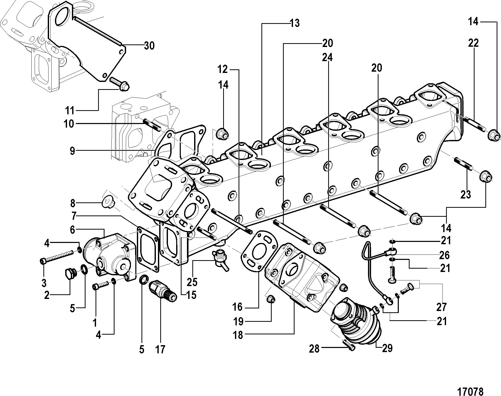 Mercruiser Cmd 42 Ms 230 88030400 Thru L15 30r Wiring Schematic Exhaust Manifold