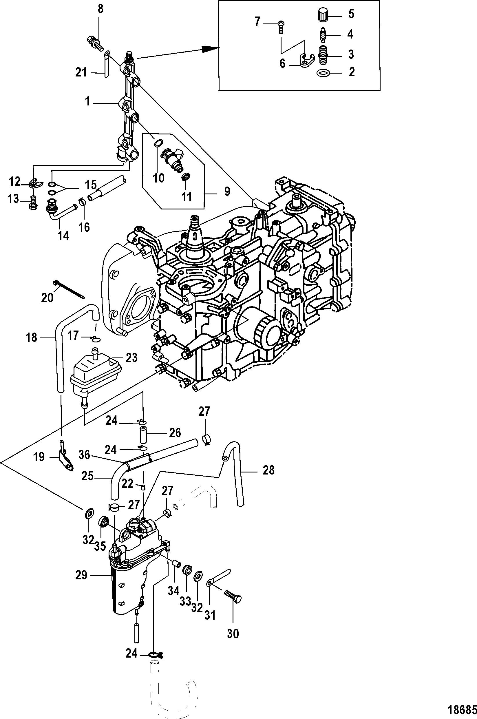 Каталог запчастей MERCURY - старые 25 Jet EFI (3 CYL )(4