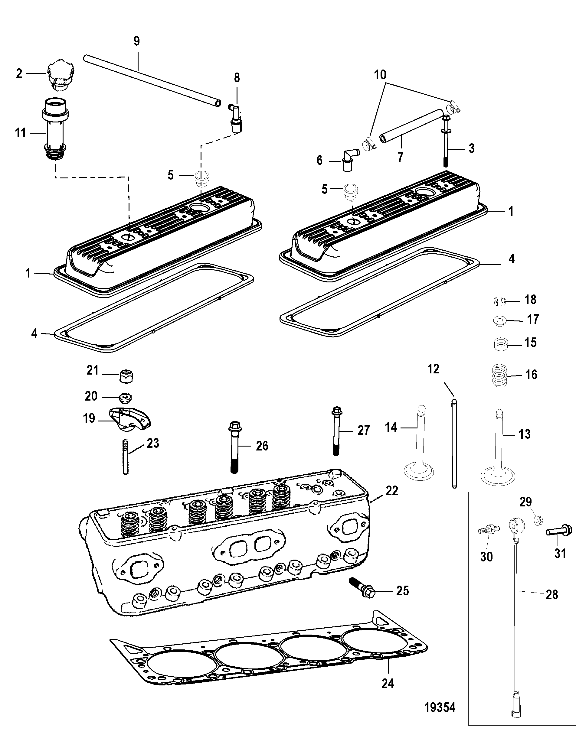 mercruiser 377 mag mpi bravo 1a623185 Mercruiser Electrical System Wiring Diagrams cylinder head and rocker cover