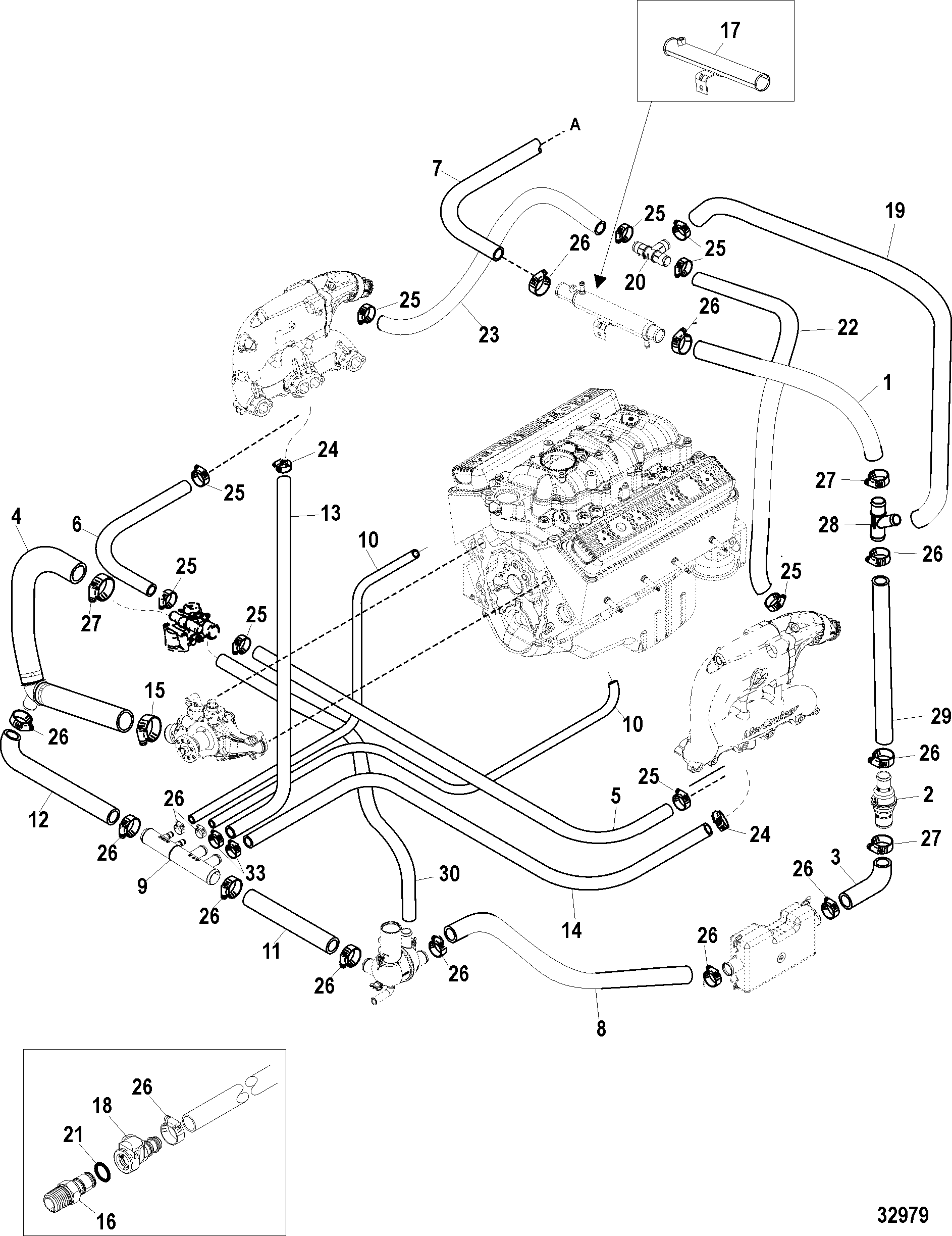 Mercruiser 350 Mag Mpi Horizon Alpha Engine Diagram Standard Cooling System Single And 7 Point Drain