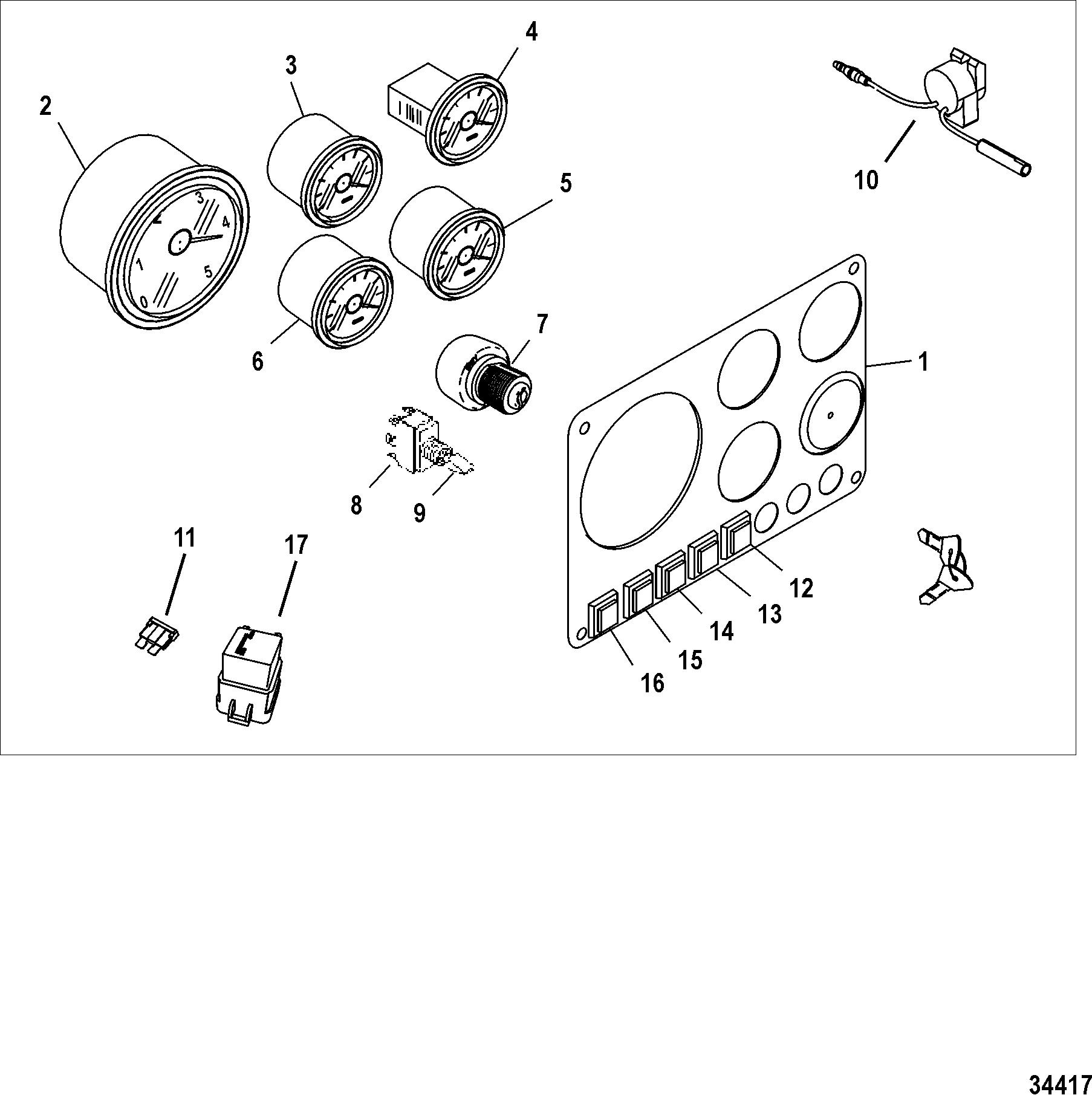 mercruiser cmd 1 7 mi 120 i l4 88109041 3.0 Mercruiser Trim Wiring Diagram instrument panel kit ponents full