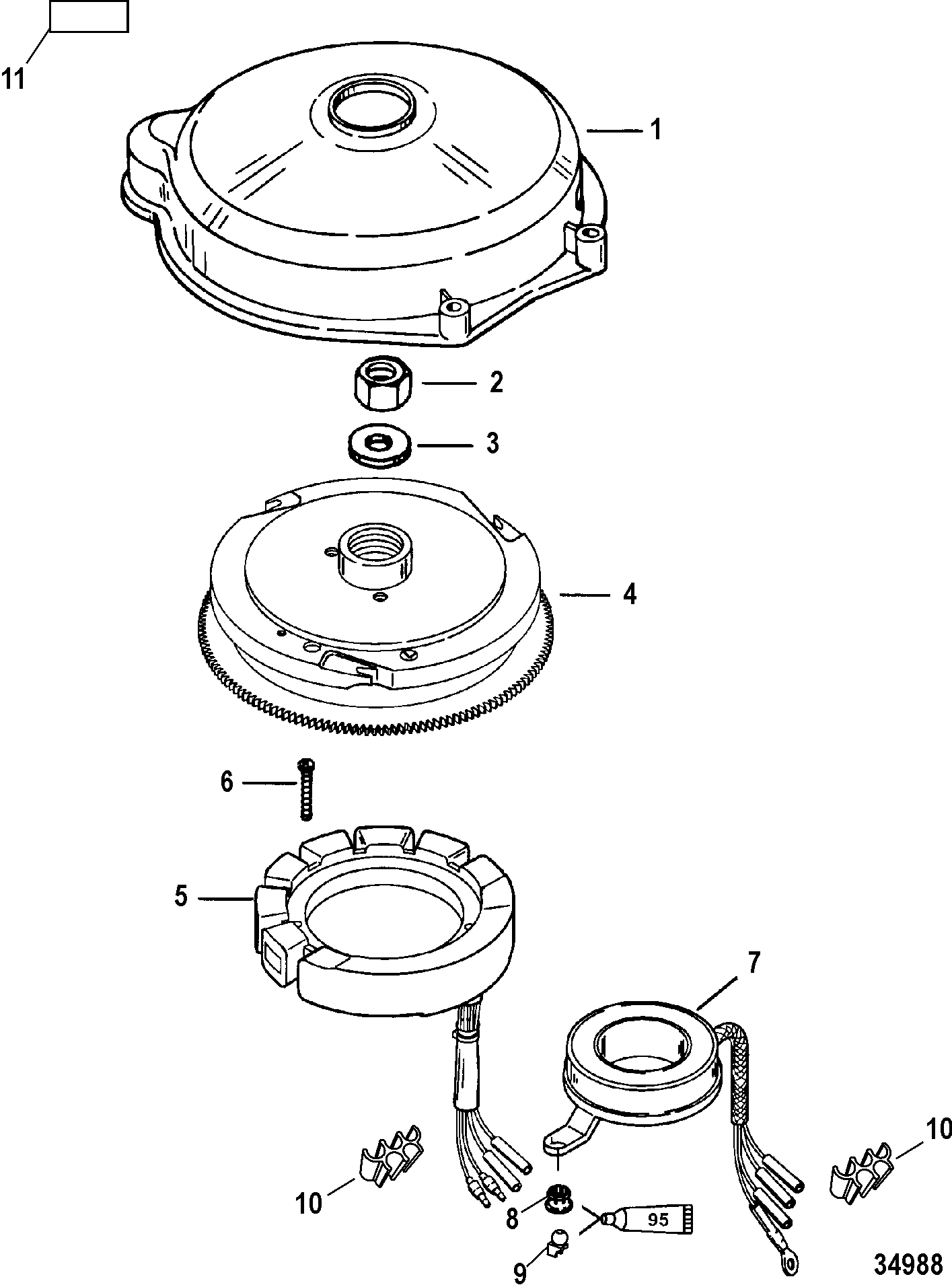 Mercury 40 Jet 0t980000 Up Diagram Of 8 2 Cyl2strokeinternational Outboard Flywheel And Stator Electric