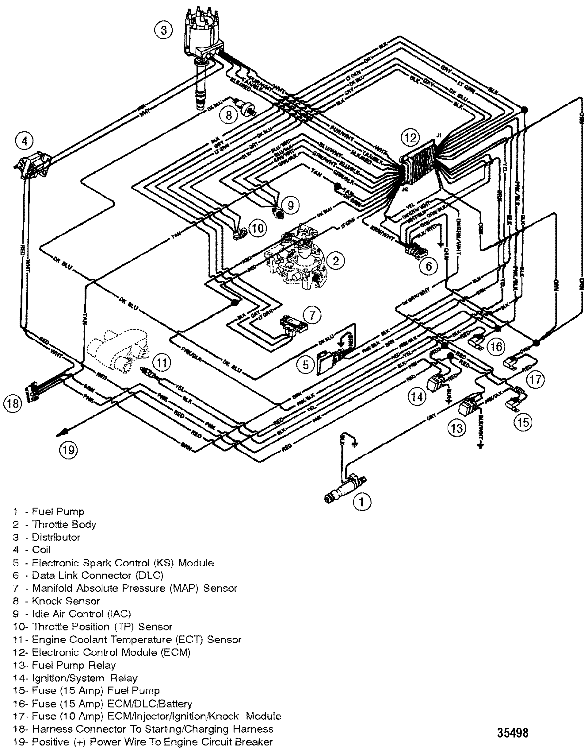 mercruiser 5 7l efi gm 350 v 8 1998  wiring harness efi