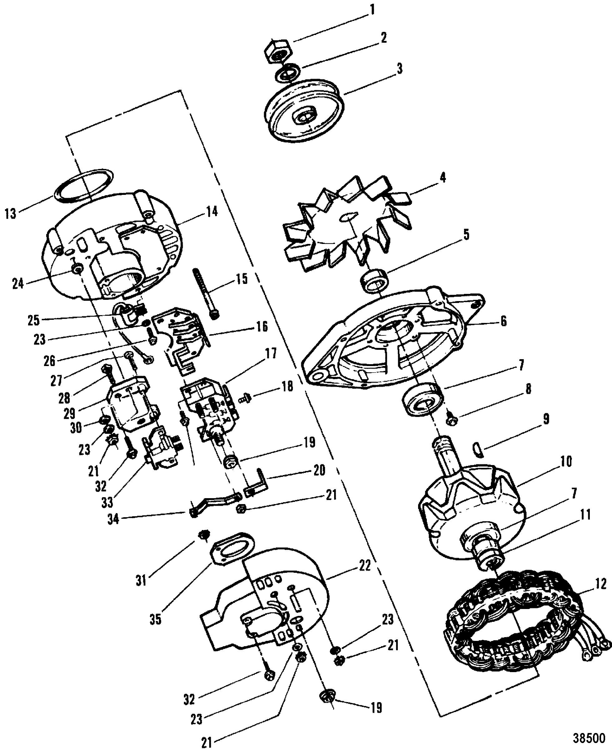 mercruiser 205 4 bbl gm 262 v 6 1987 3 Wire Alternator Wiring alternator motorola 8em2003ka
