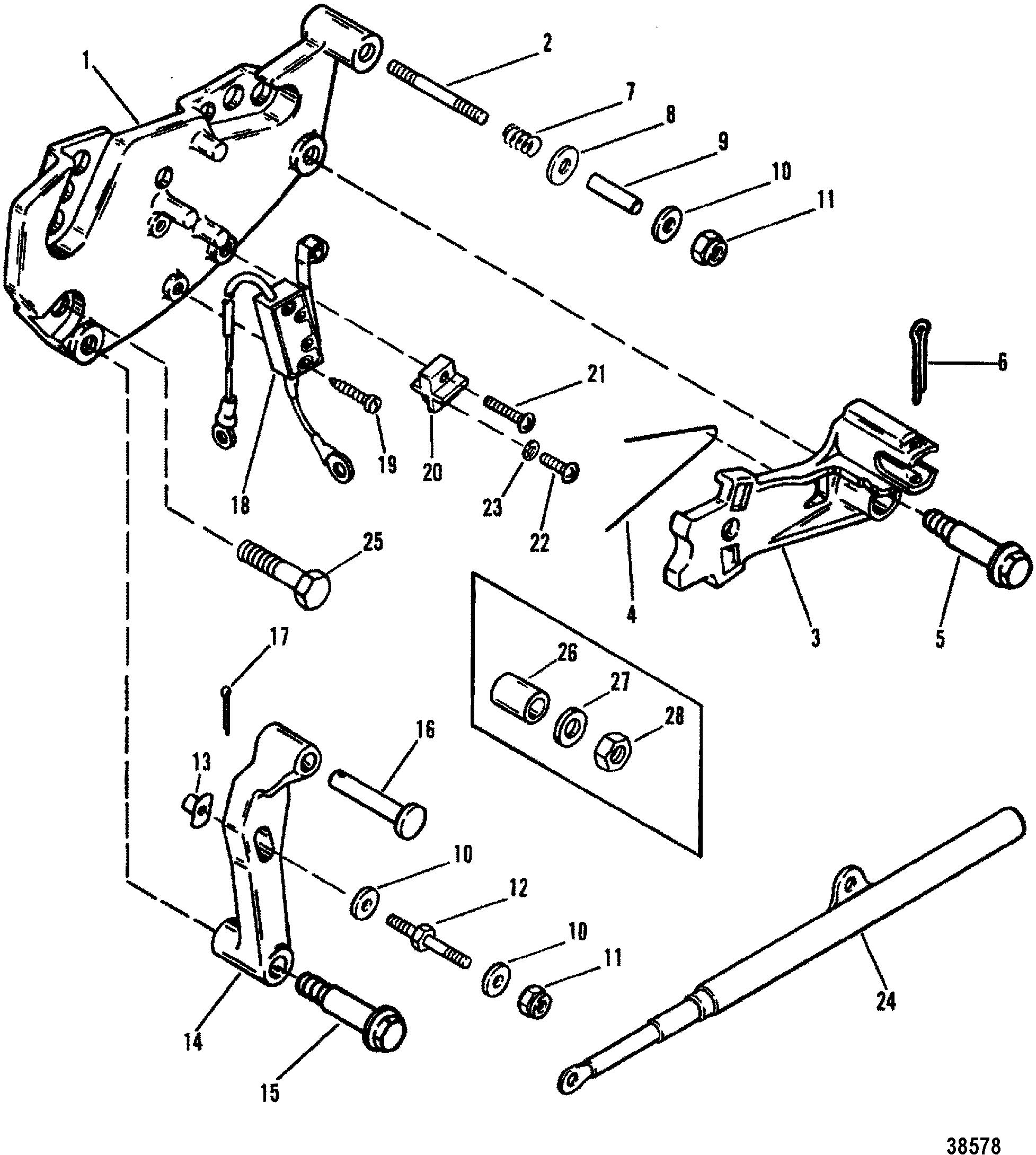 КатаРог запчастей mercruiser остаРьные 5 7l gm 350 v 8 1988 1995 shift bracket alpha engines