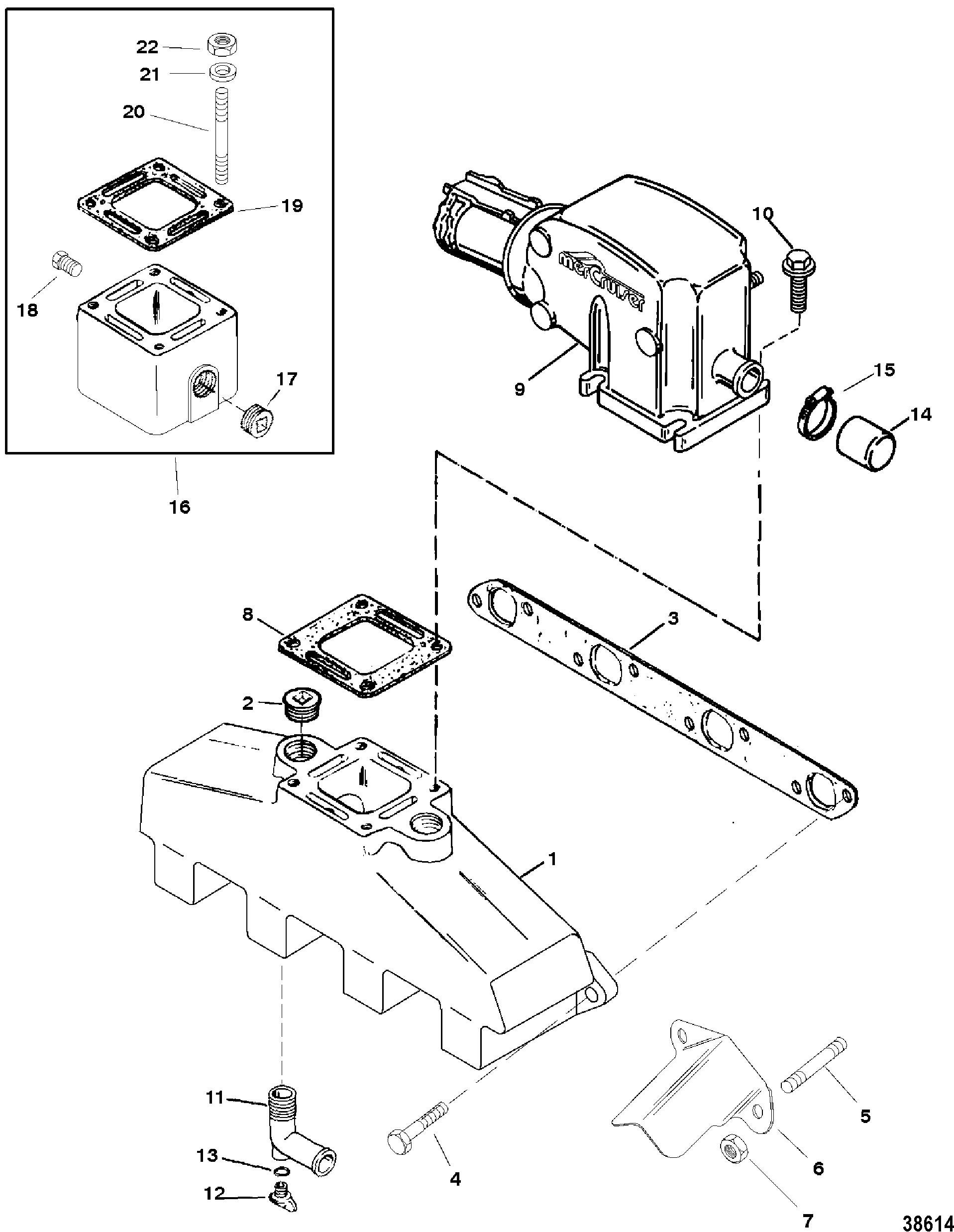 mercruiser 454 mag bravo mpi gen vi Mercruiser 2.5L 1988 Wiring Diagram exhaust manifold and exhaust elbow