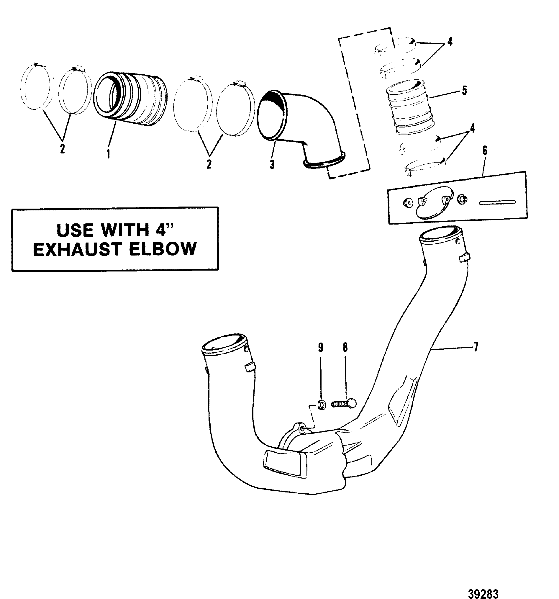 Mercruiser 200 2 Bbl Gm 305 V 81 1985 1978 898 Wiring Diagram Exhaust System Use With 7 Degree Elbow