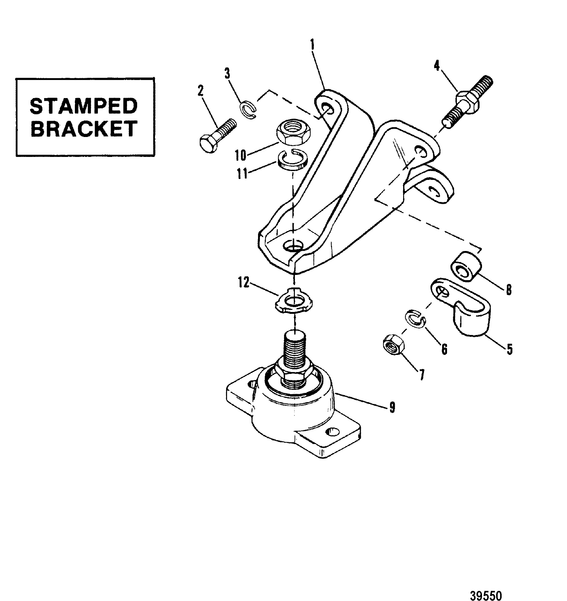 Mercruiser 898 2 Bbl Gm 305 V 8 1983 1978 Wiring Diagram Engine Mountingstamped Bracket