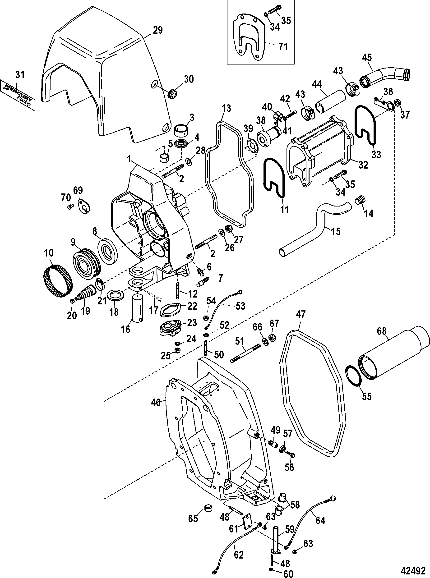Mercruiser Integrated Transom 0m052768 1994 Evinrude 175 Wiring Diagrams Gimbal Housingintegrated