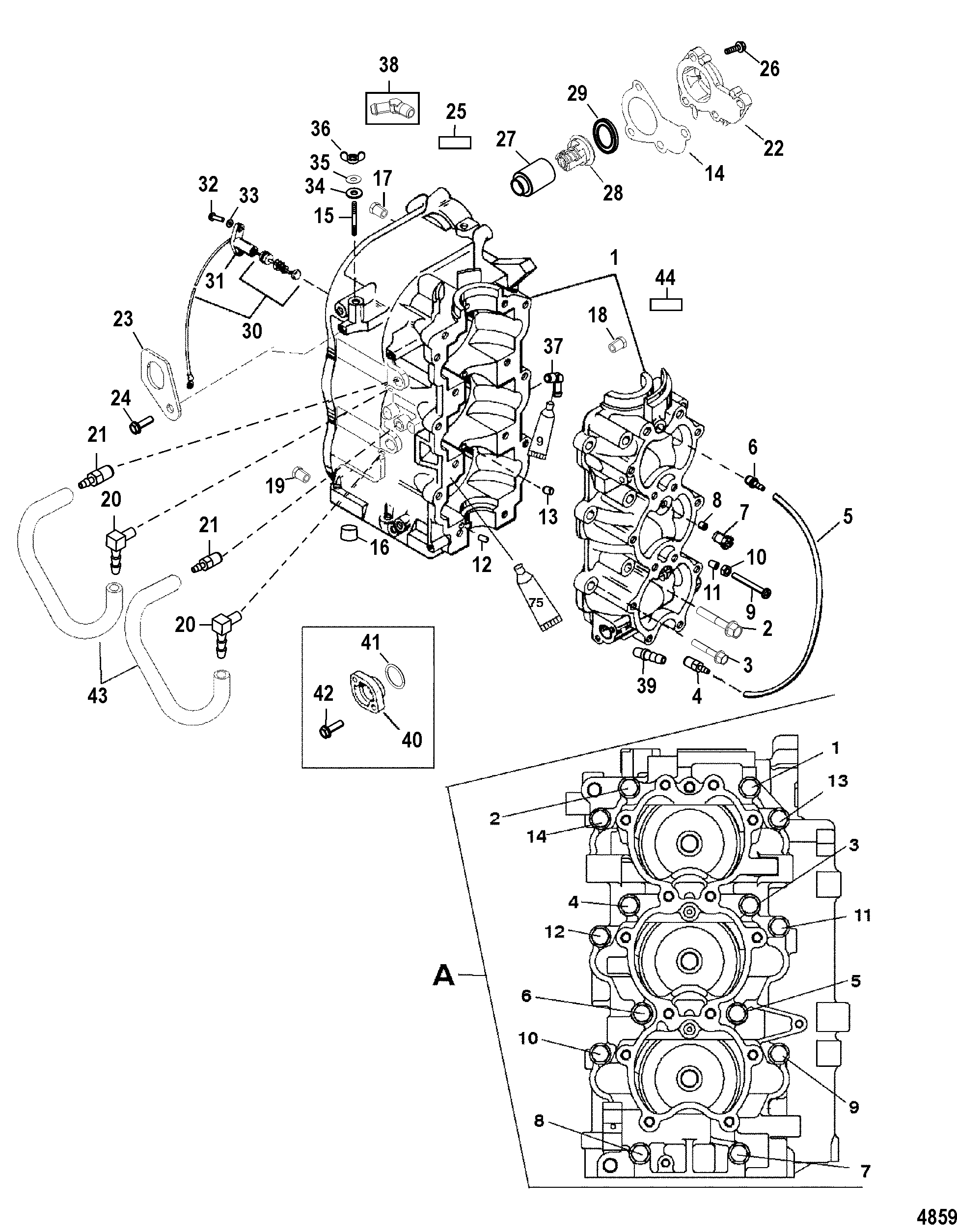 Mercury 40 Jet 0t980000 Up Diagram Of 8 2 Cyl2strokeinternational Outboard Cylinder Block And Crankcase
