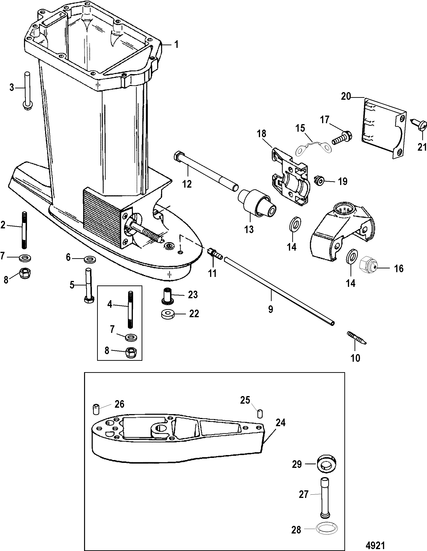 Mercury 40 Jet 0t980000 Up Diagram Of 8 2 Cyl2strokeinternational Outboard Driveshaft Housing