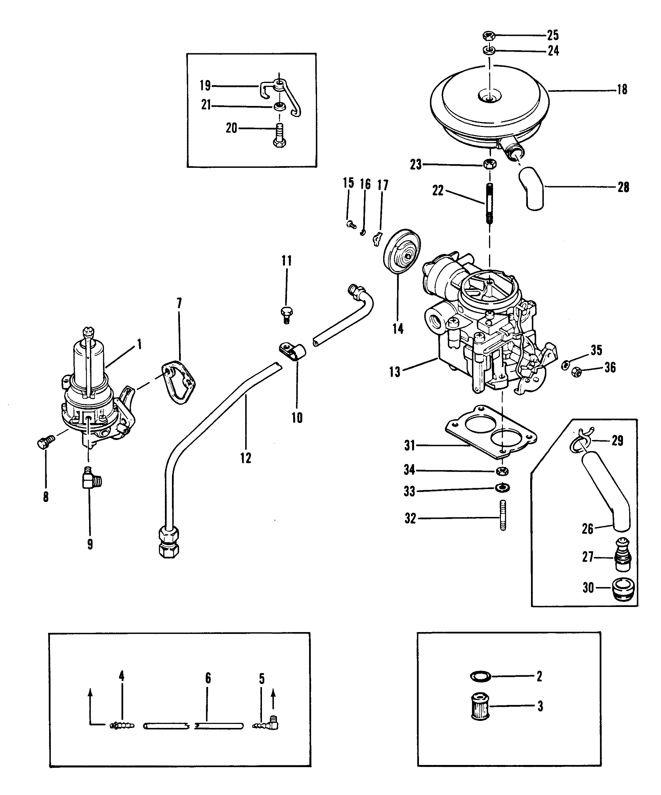 КатаРог запчастей mercruiser остаРьные 140 gm 181 i l4 1982 1986 fuel pump and carburetor old design