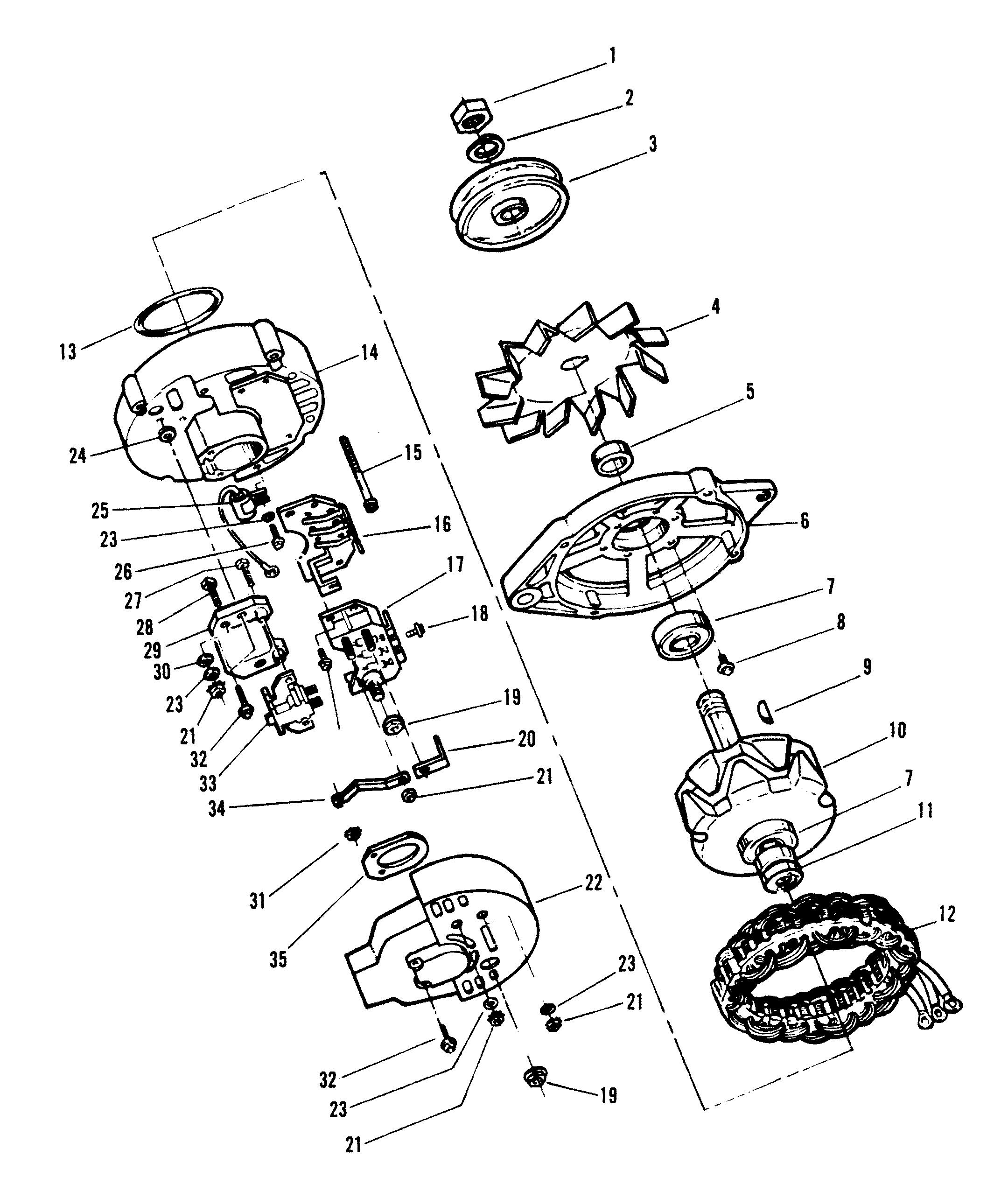 mercruiser 2 5l gm 153 i l4 1987 1989 Chevy 3 Wire Alternator Wiring alternator motorola 8em2003ka