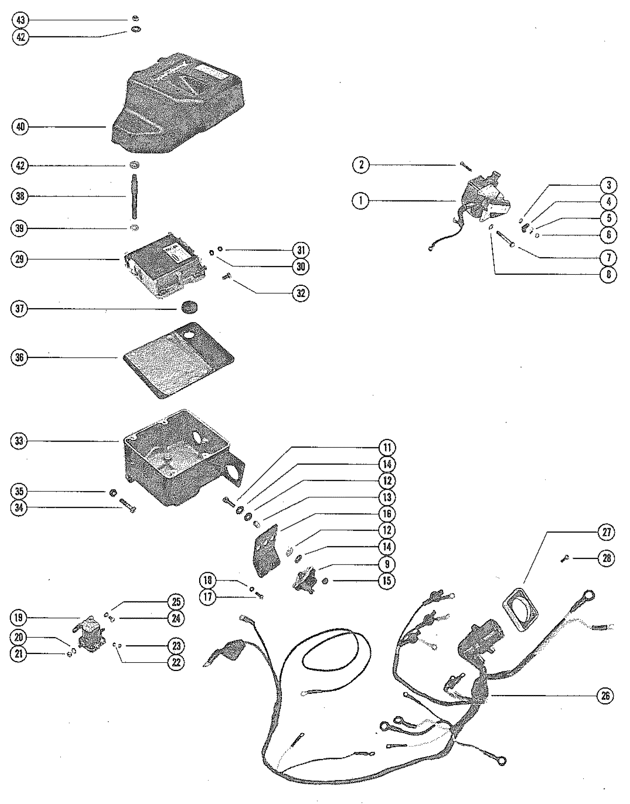 Mercruiser 330 Mie Gm 454 V 8 1977 1980 1996 Mercury 115 Outboard Wiring Diagram Harness Switch Box And Ignition Coil
