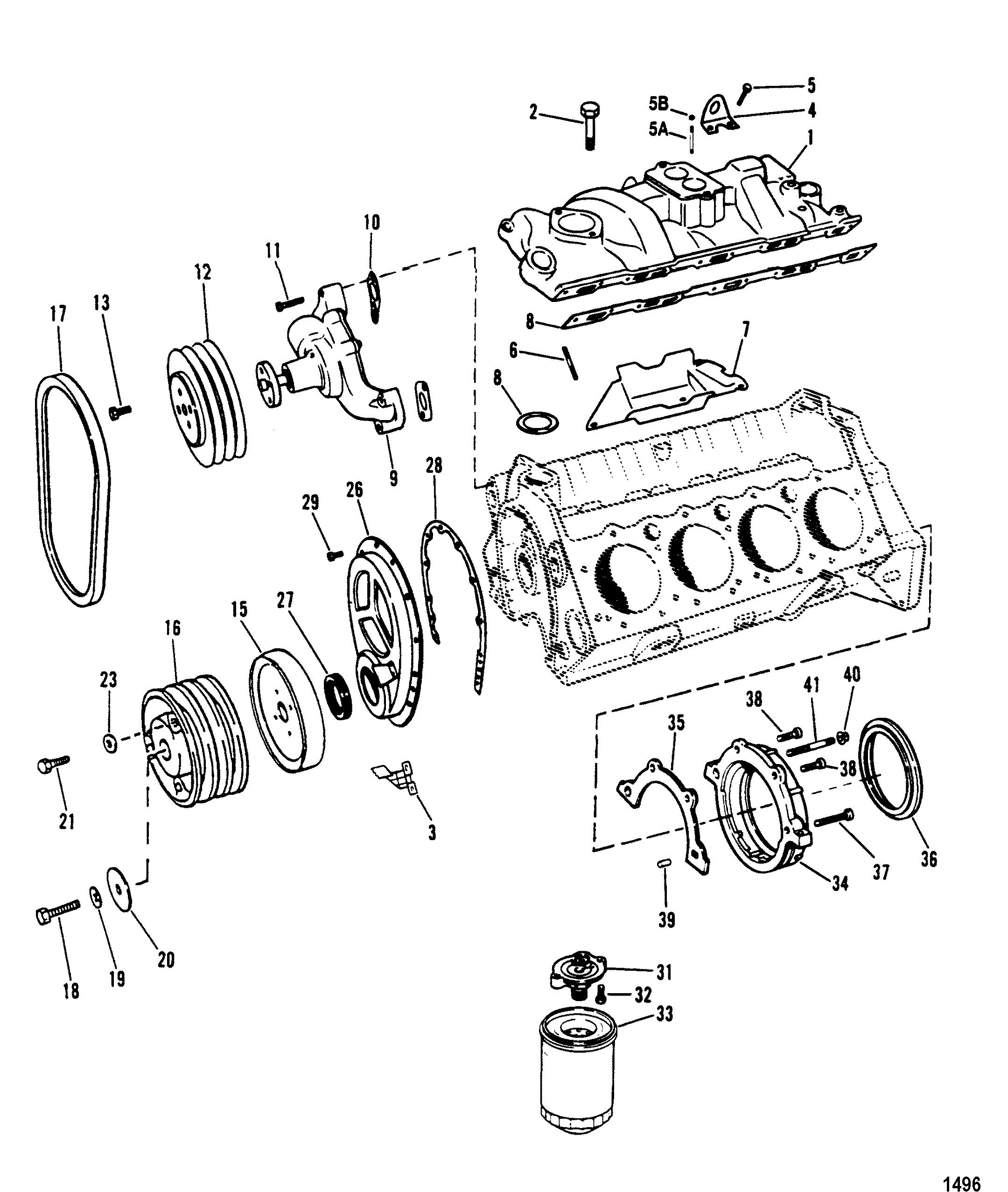 mercruiser 5 7l alpha efi tbi gm 350 v  intake manifold and front cover