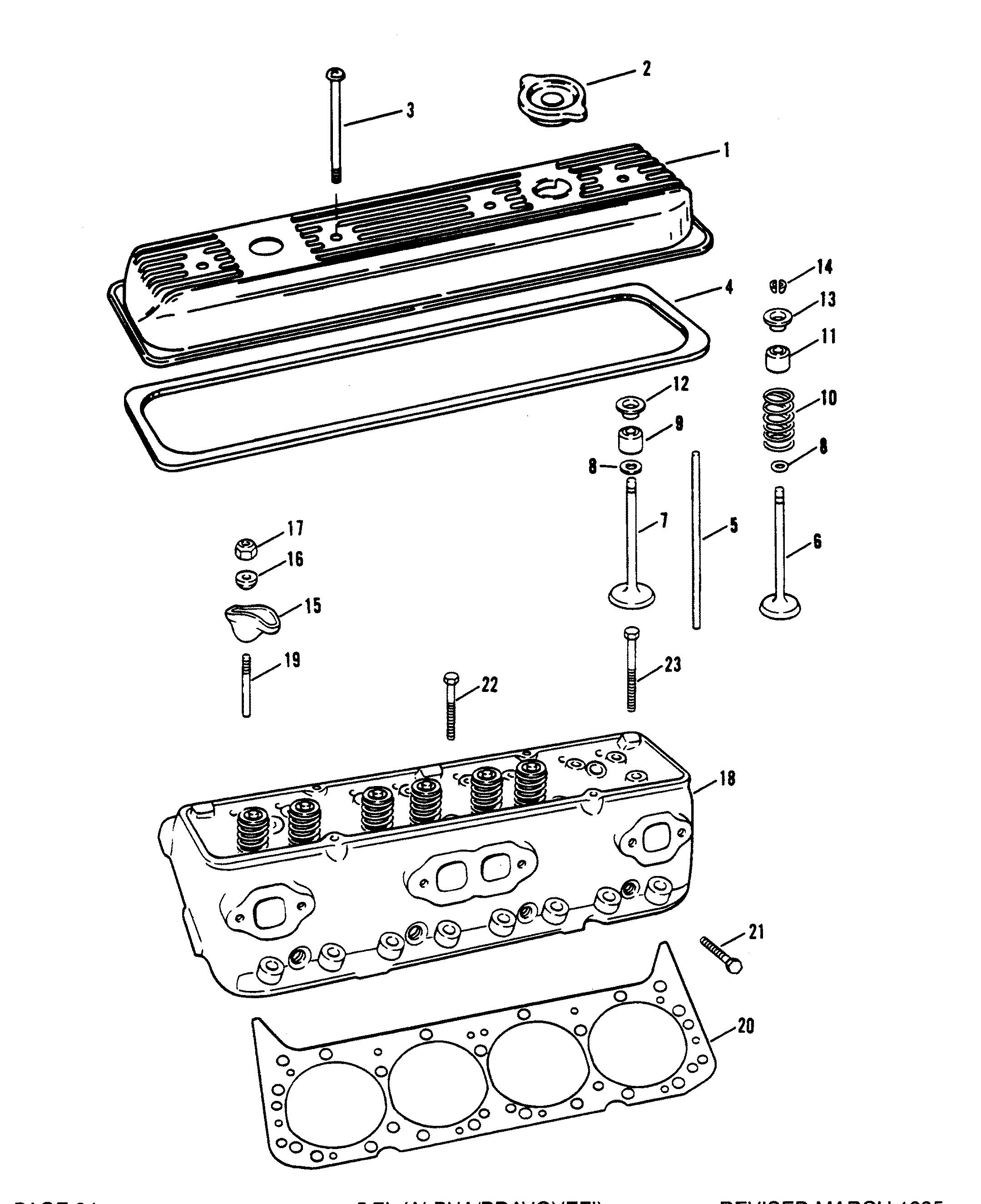 mercruiser 5 7l alpha efi tbi gm 350 v  cylinder head and rocker cover