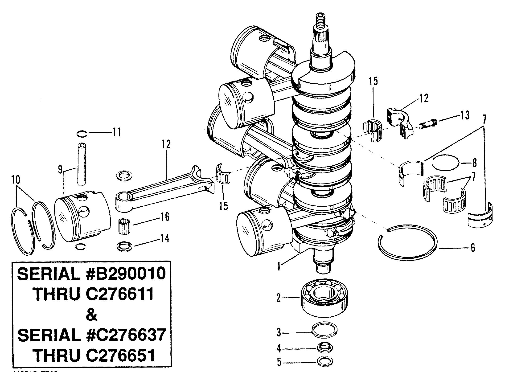 Каталог запчастей race outboard merc mar 2 4l (efi) 0b290010 thrucrankshaft, pistons and connecting rods