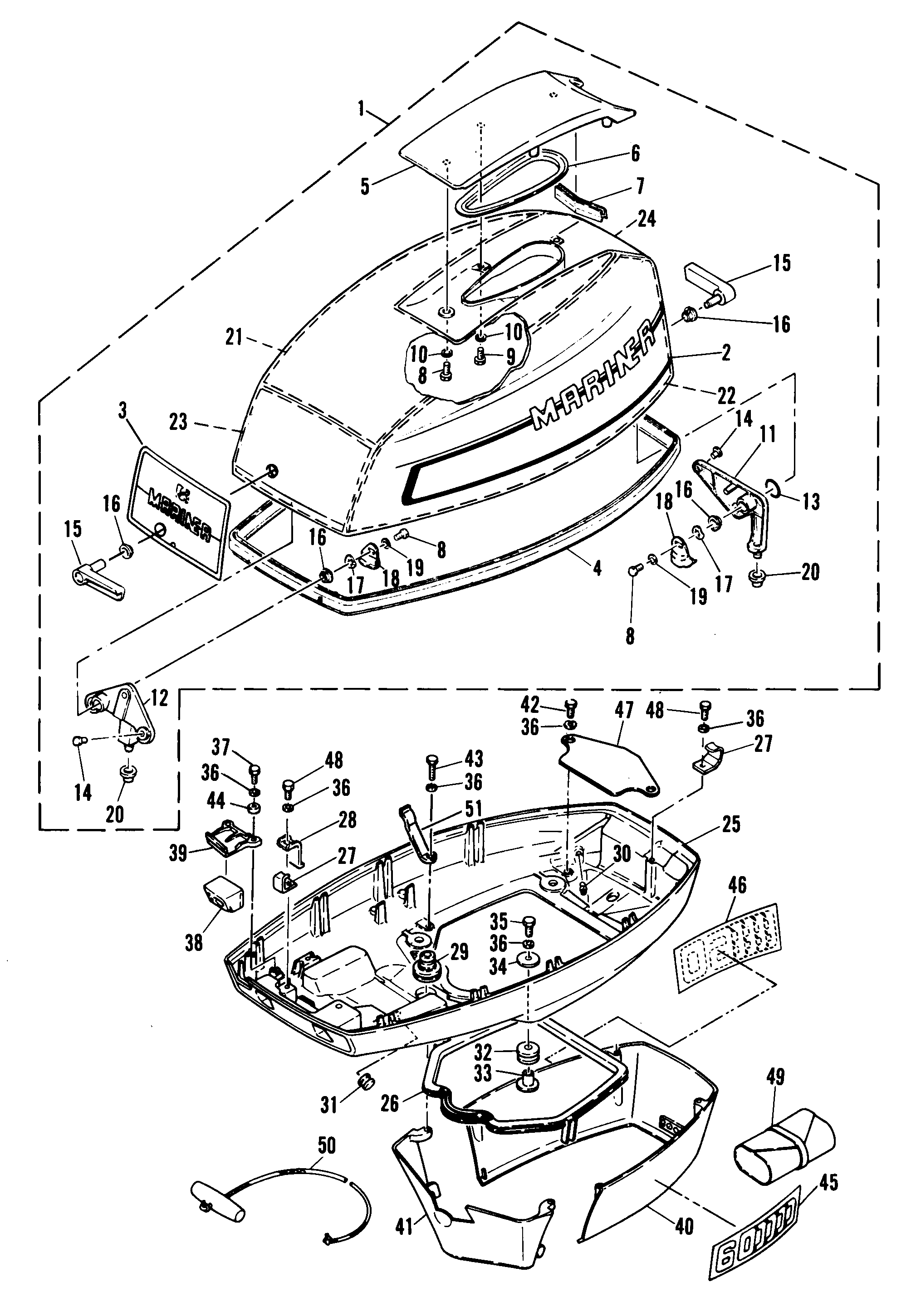 Mariner 60 2 Cyl 6f0 000101 And Up Diagram Of 8 Cyl2strokeinternational Mercury Outboard Cowling